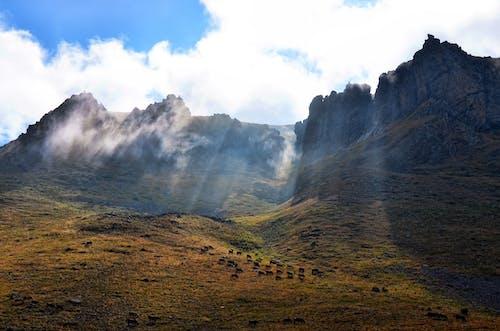 Бесплатное стоковое фото с высокий, голубой, горная местность, горный пик