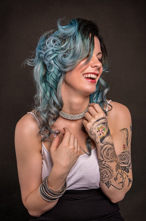 Portrait of Woman With Blue Hair