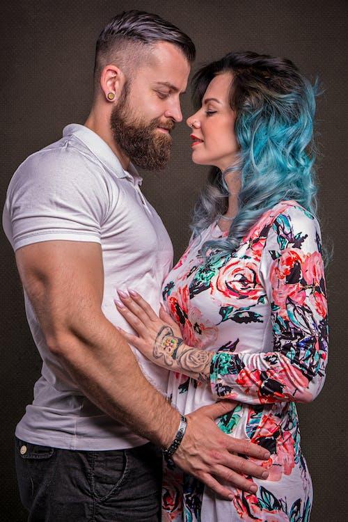 Studio Shot of Affectionate Couple