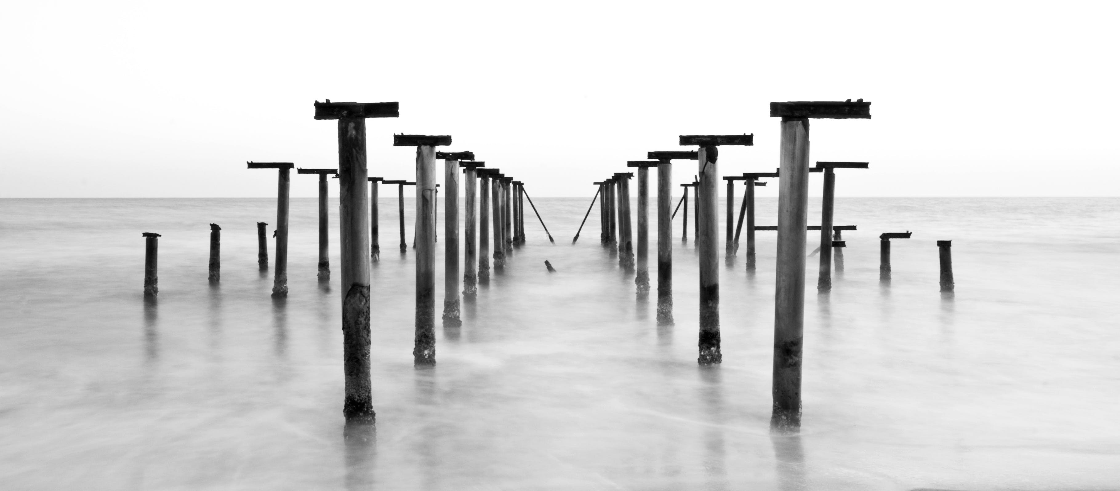 Grayscale Photography of Posts in Body of Water