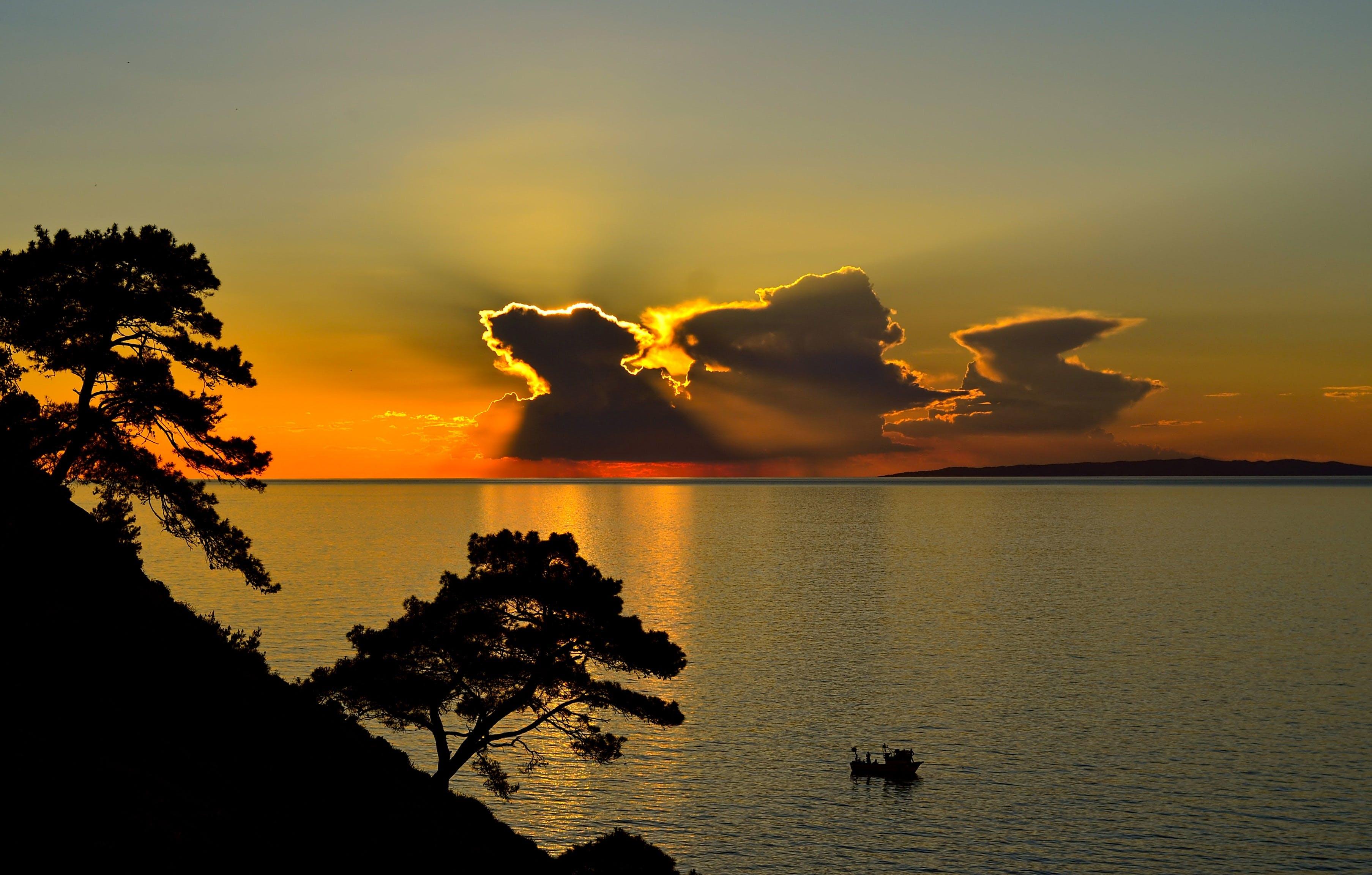 boat, clouds, dawn
