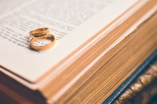 Free stock photo of love, rings, religion, book