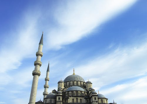 Gray and Blue Concrete Mosque Low Angle Photograph