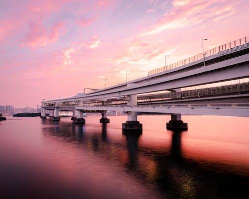 Bridge over calm river under colorful sundown sky