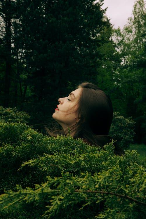 Woman in Black Shirt Standing Near Green Trees