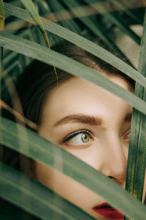Womans Face on Green Leaves