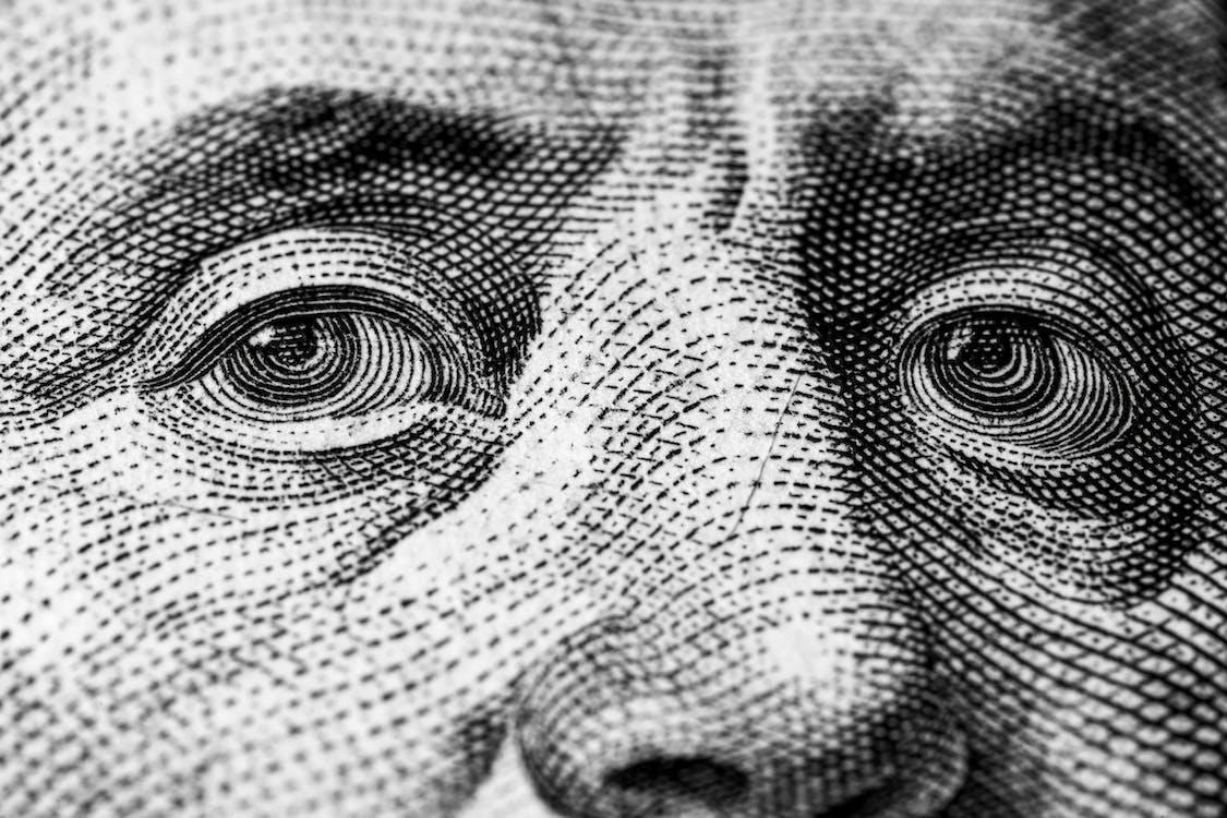 Image of president on American dollar bill