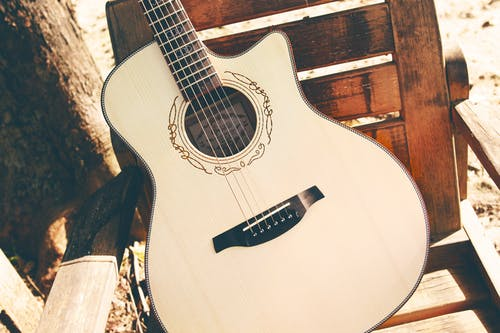 White Cutaway Acoustic Guitar