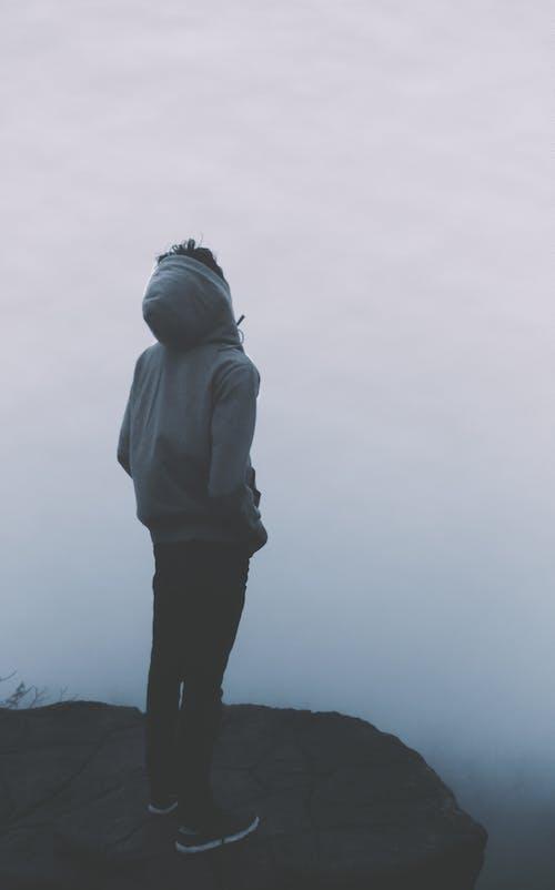 Free stock photo of accomplishment, fashion, fog, grey jacket
