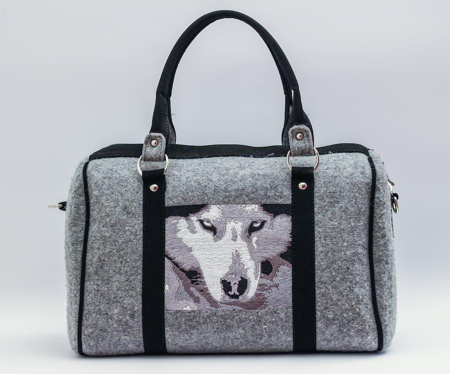 Gray and Black Wolf Graphic Handbag