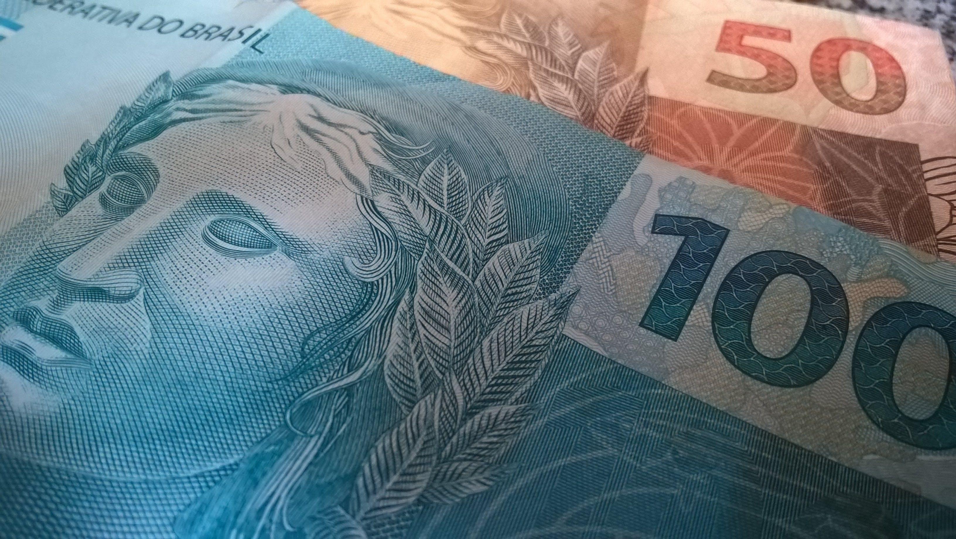 100 and 50 Brazilian Reais Banknotes