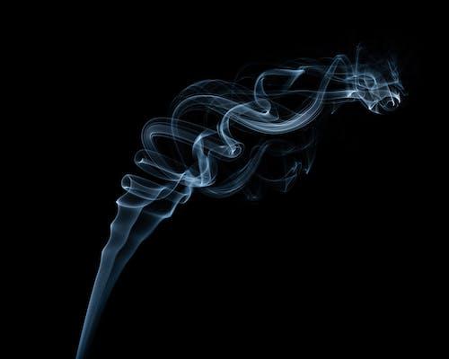Wavy smoke flow with swirls in twilight