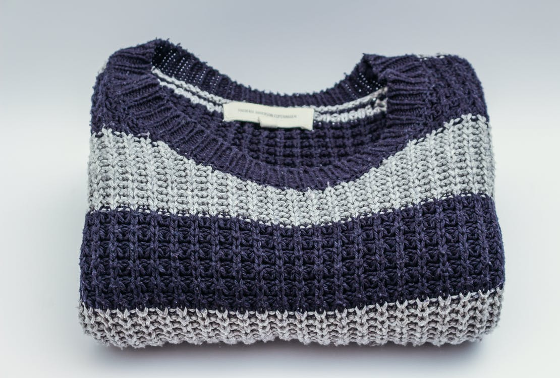 Gray and Black Striped Crew-neck Top