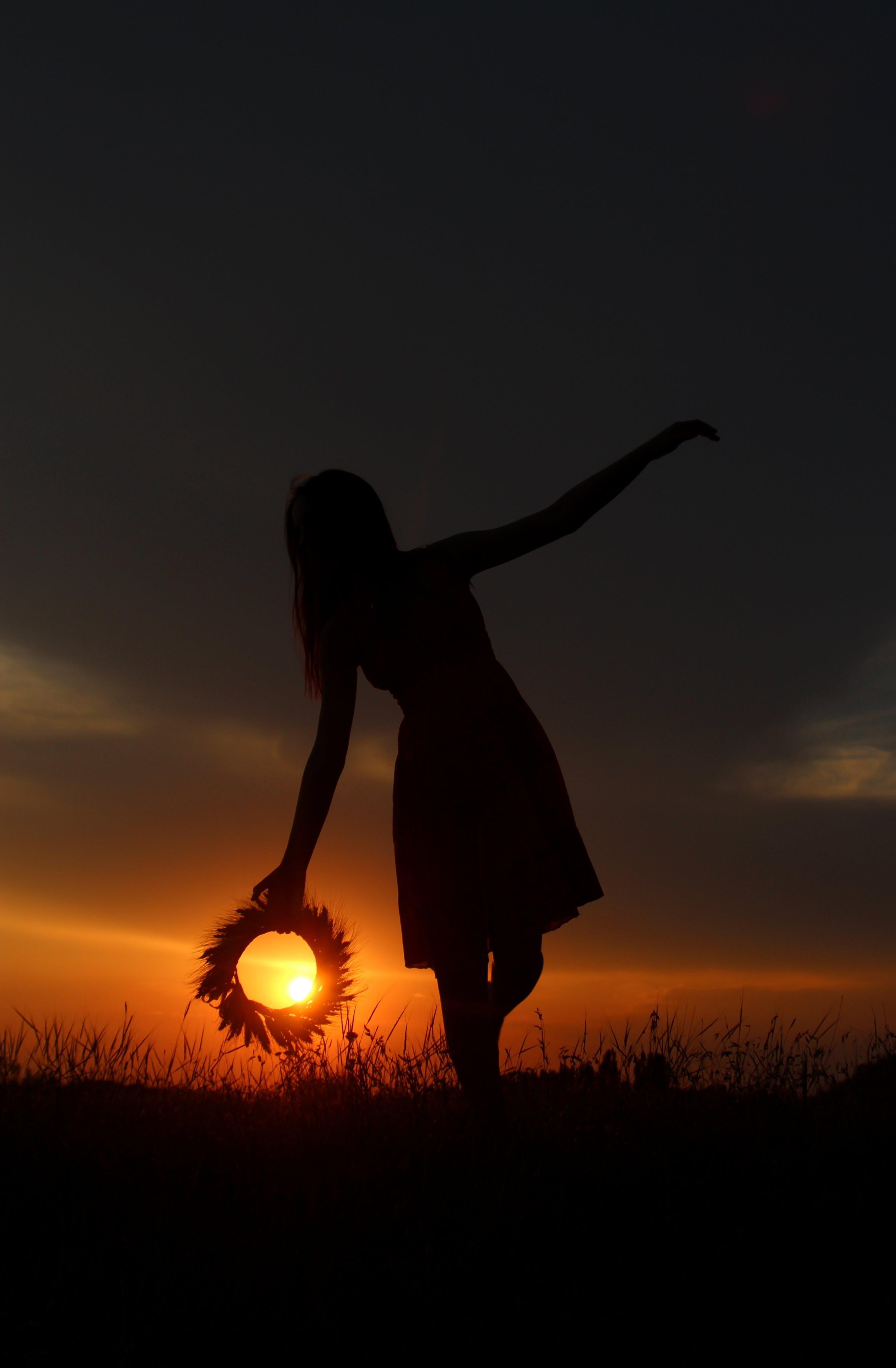 Free stock photo of sunset, sun, girl, shadows
