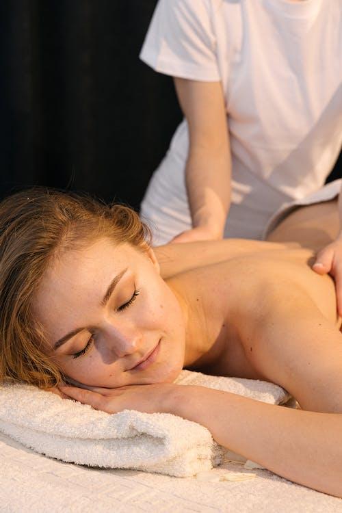 Close-Up Shot of a Woman Getting a Back Massage