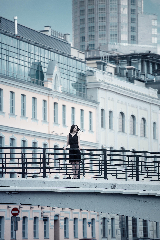 architecture, black dress, black-and-white