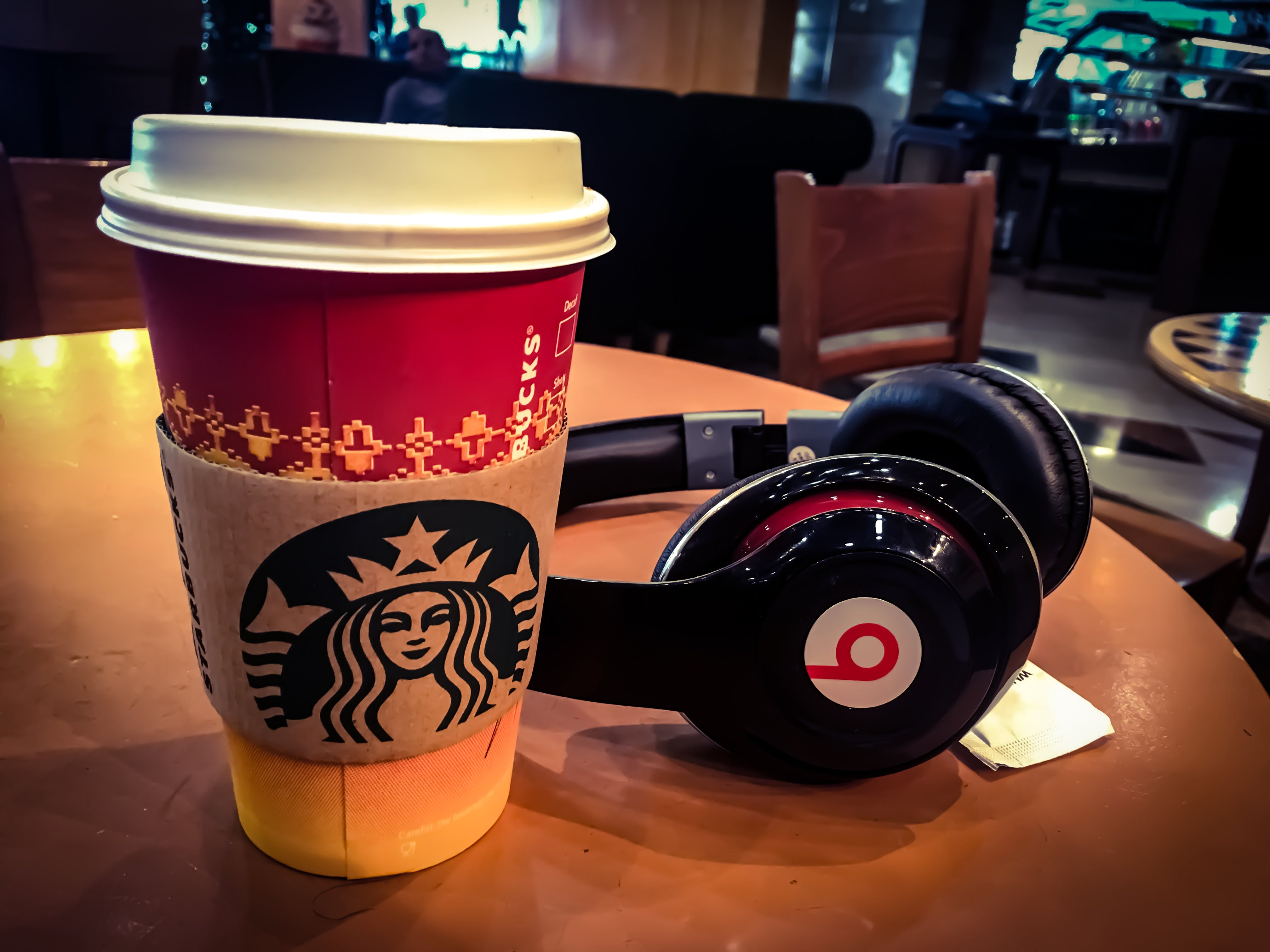 Free stock photo of #coffee #beats #Travel #Airport #waiting #iphone