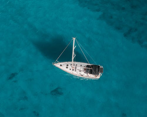 White Boat on Blue Sea
