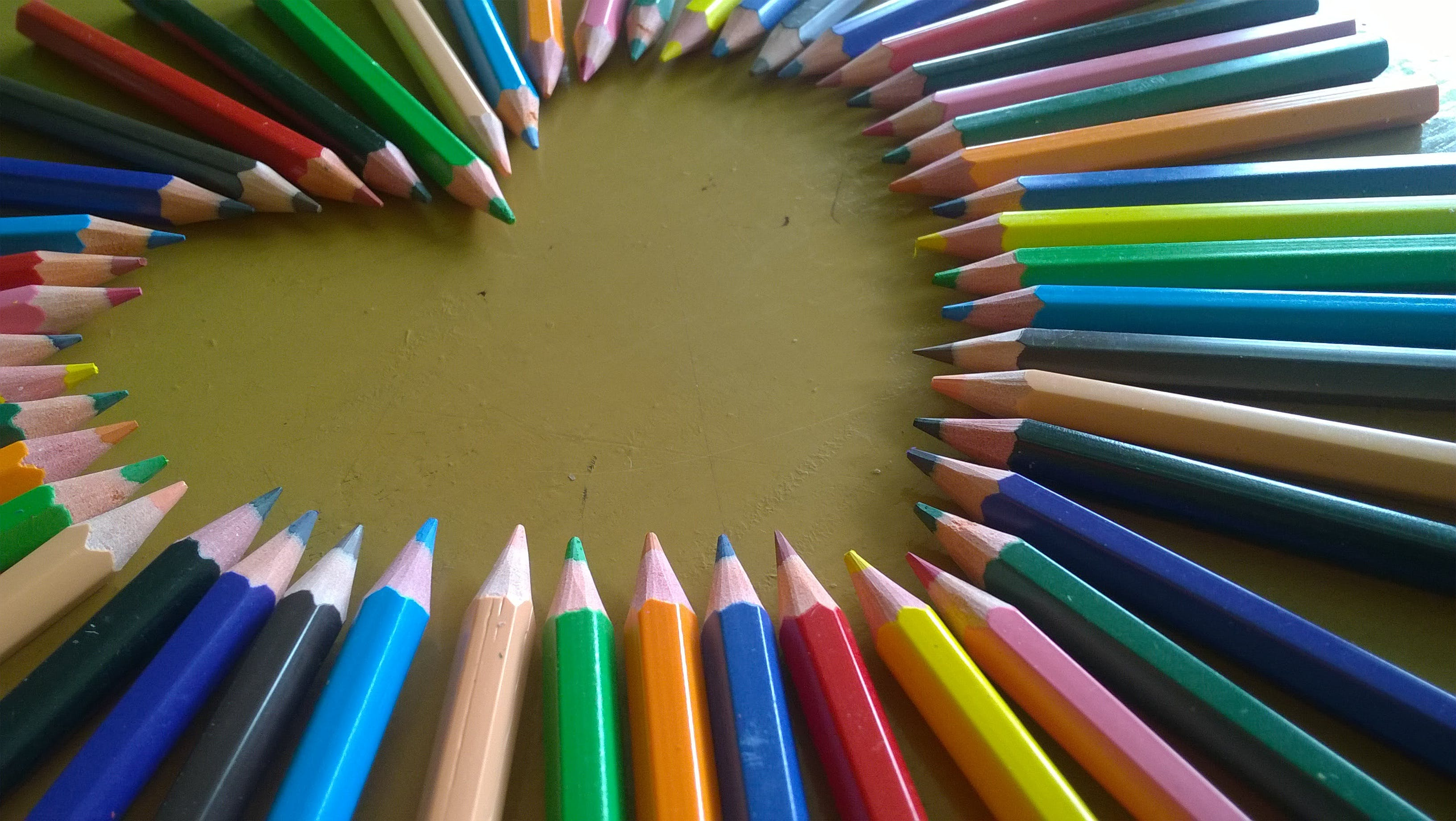 Heart Form Using Colored Pencils