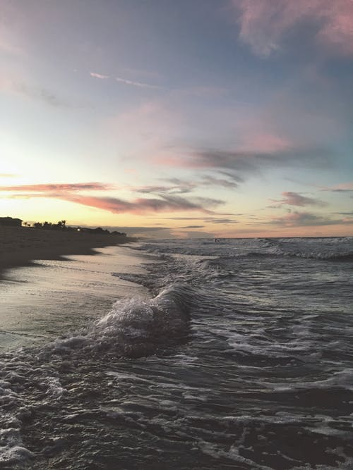 Waving sea in evening time