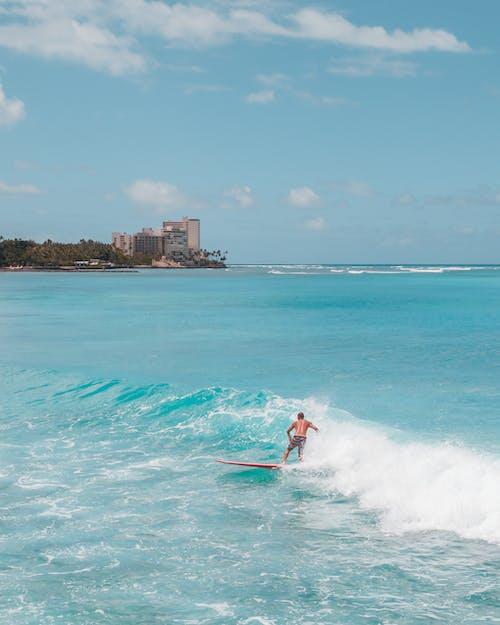 Woman in Red Bikini Surfing on Sea