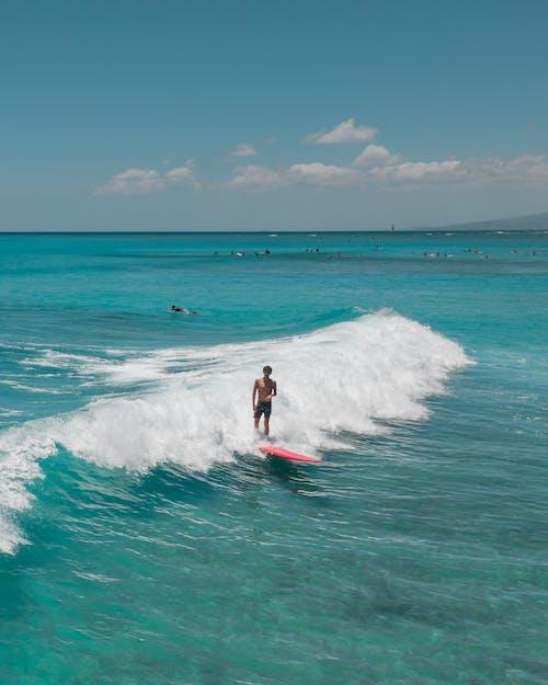 Man Surfing on Sea Waves
