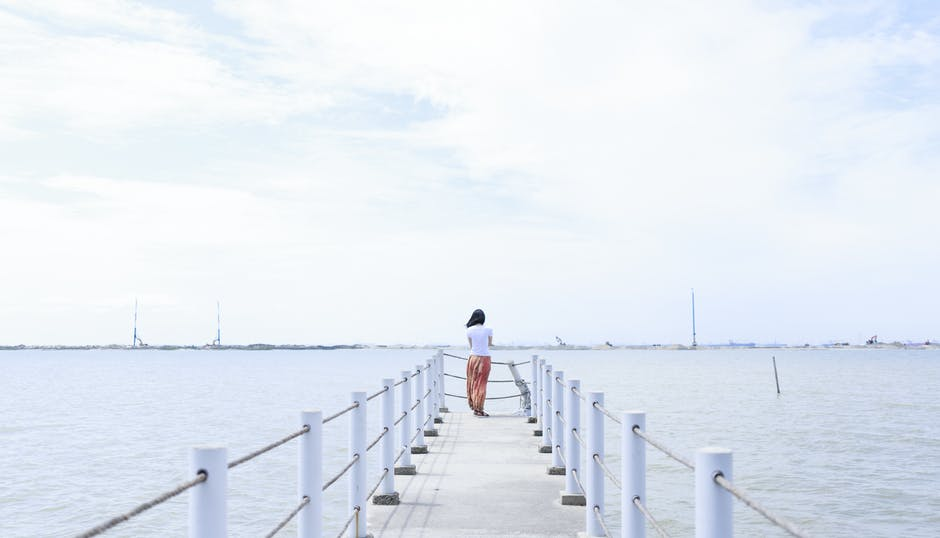 alone, back view, beach