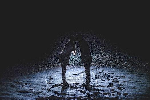 Free stock photo of snow, couple, love, people