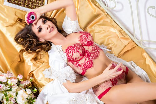 Free stock photo of ferdinandstudio, flowers, girl, lingerie