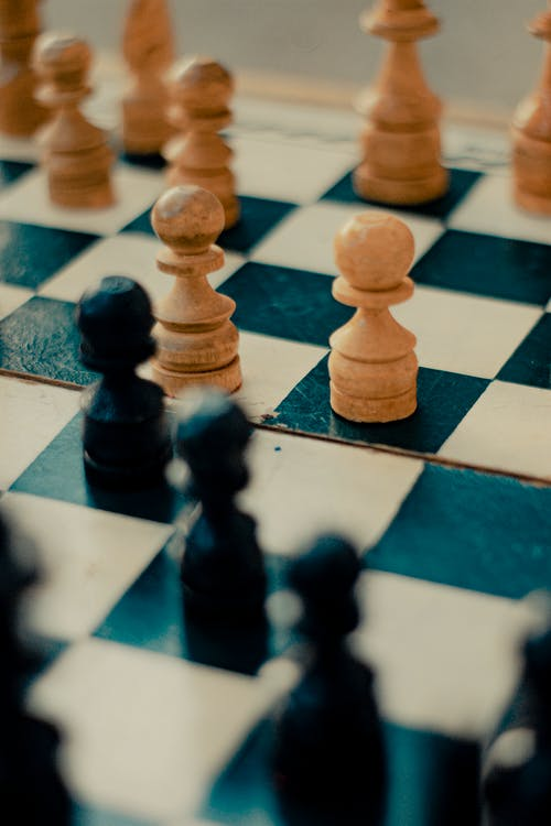 Close Up of Pawns on a Chess Board