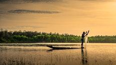 fishing, landscape, man