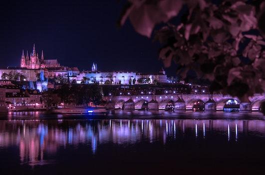 Free stock photo of city, sky, night, water