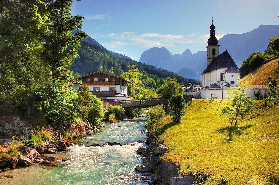 alpine, architecture, bridge