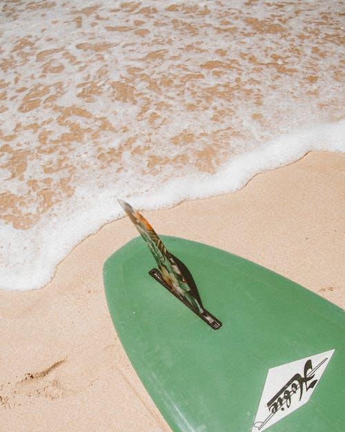 Green Surfboard on Beach Shore