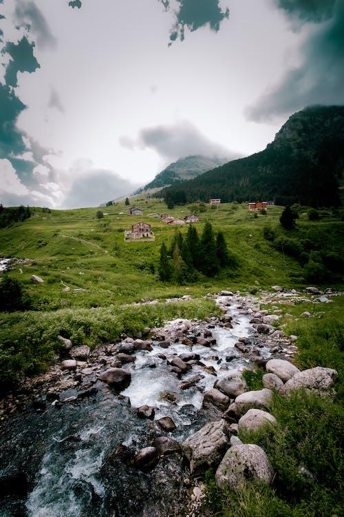 aydınlıkyeşil, beyaz bulutlar, bulutgörünümü, dağmanzarasıの無料の写真素材