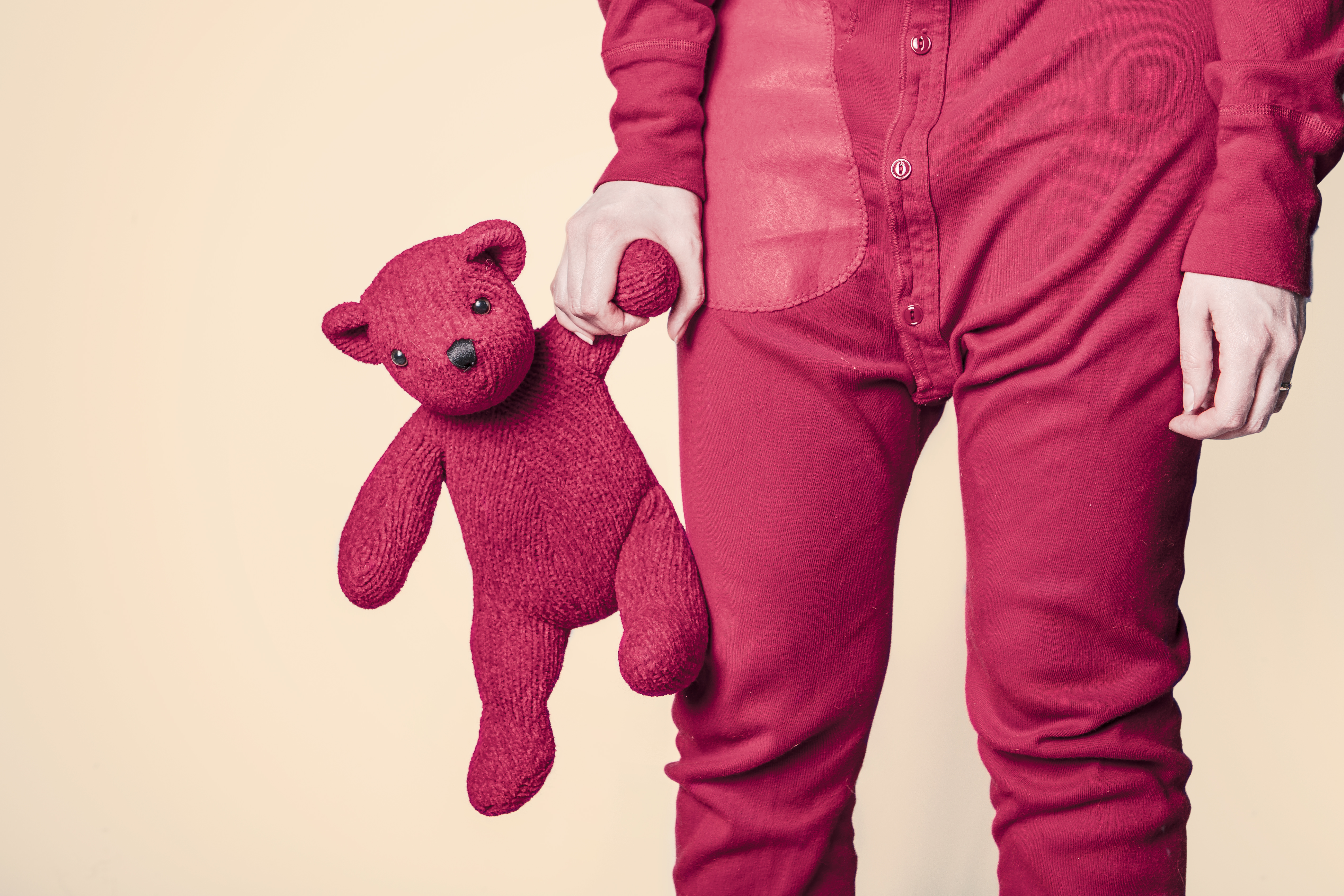 Person Holding Red Bear Plush Toy