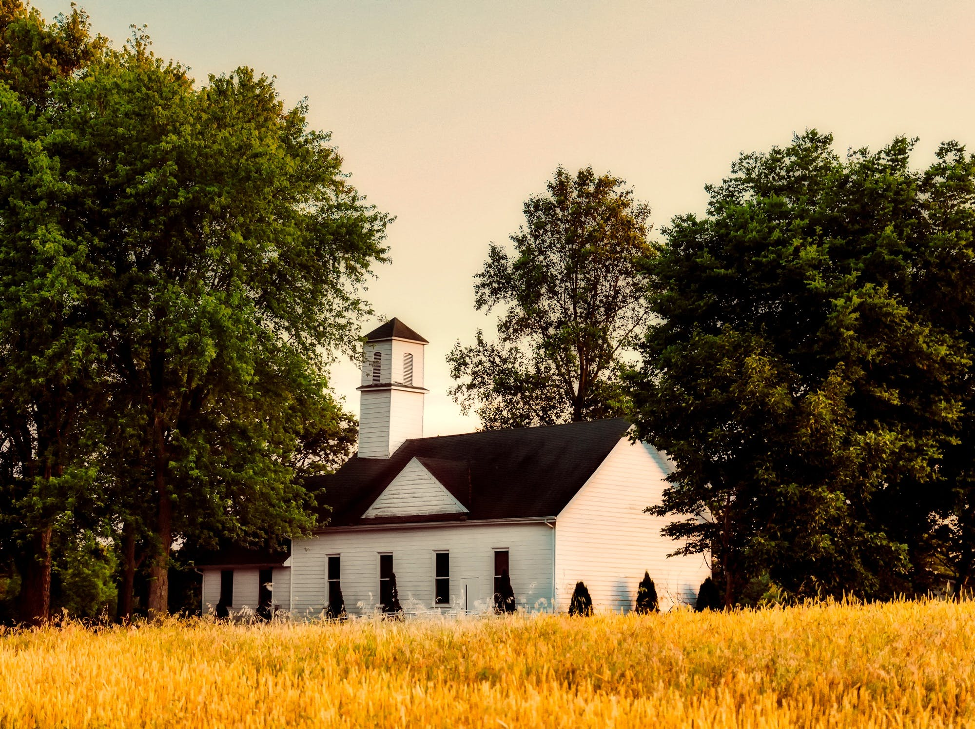 chapel, clear sky, countryside