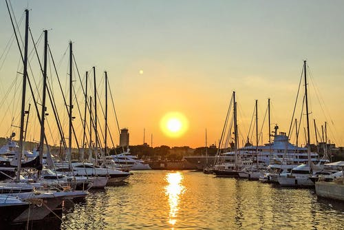 Ingyenes stockfotó ég, hajnal, jachtok, kikötő témában