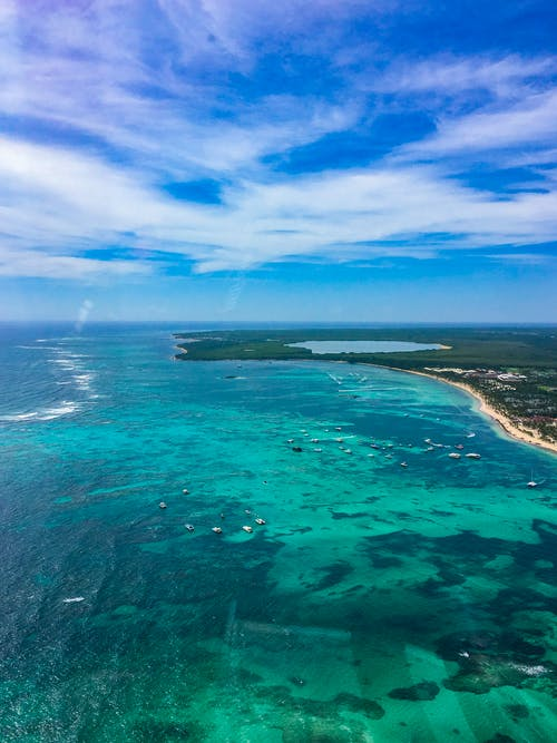 Drone view of spectacular seascape with azure shallow sea washing lush forested coast on sunny clear day