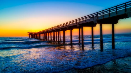 Gratis arkivbilde med bølger, brygge, daggry, hav
