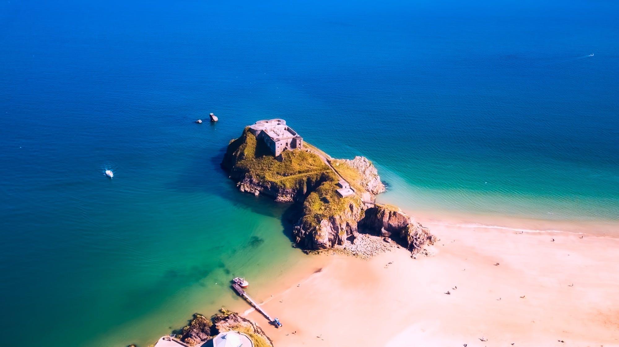 aerial view, beach, boat