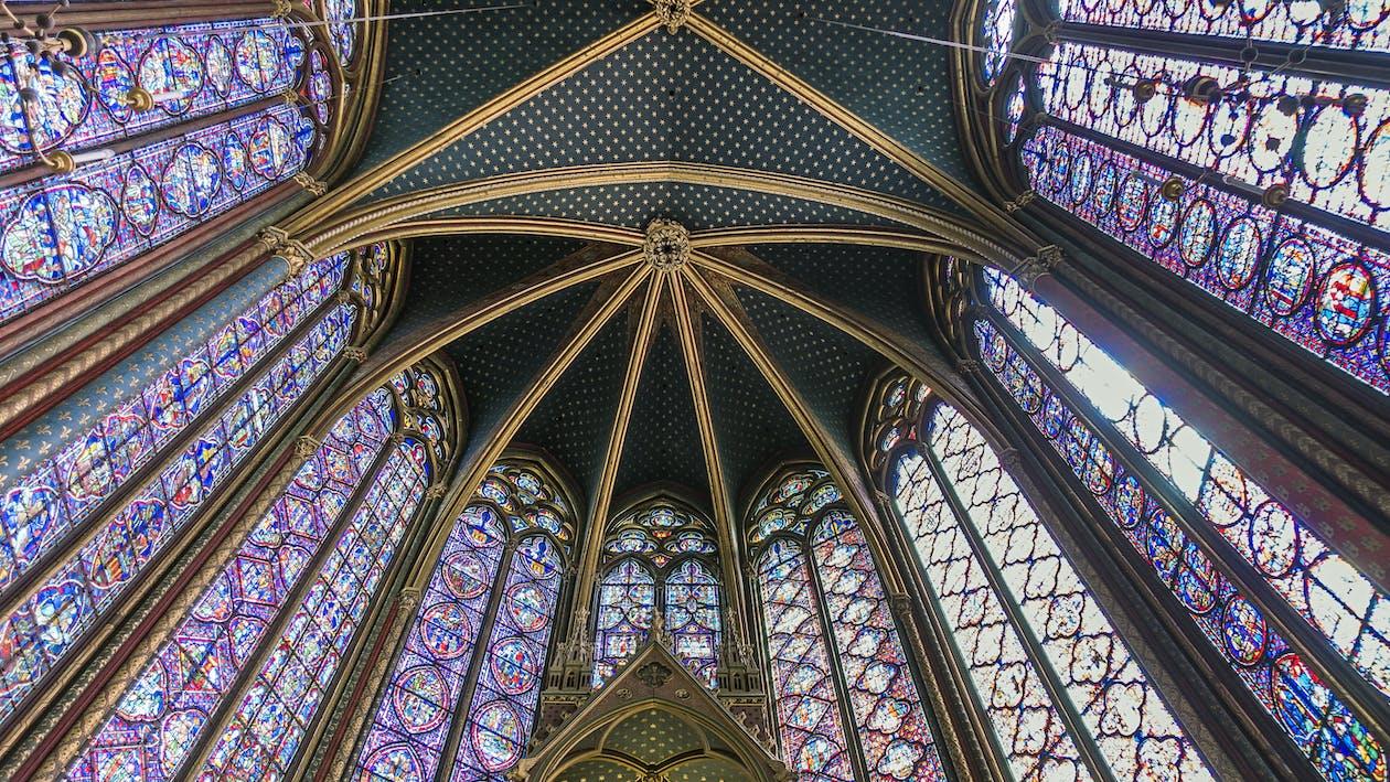 архитектура, в помещении, витражное стекло
