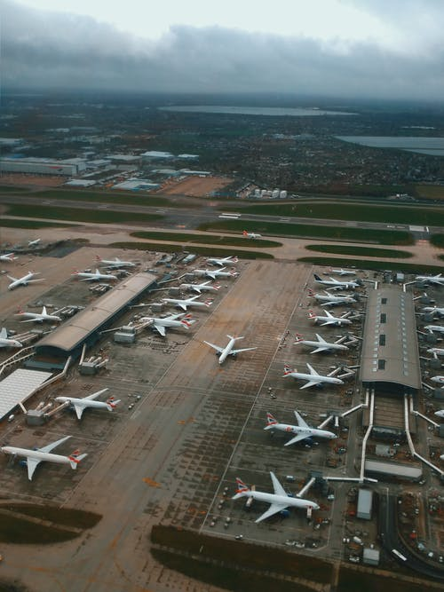 Airplanes waiting for departure and loading on aerodrome