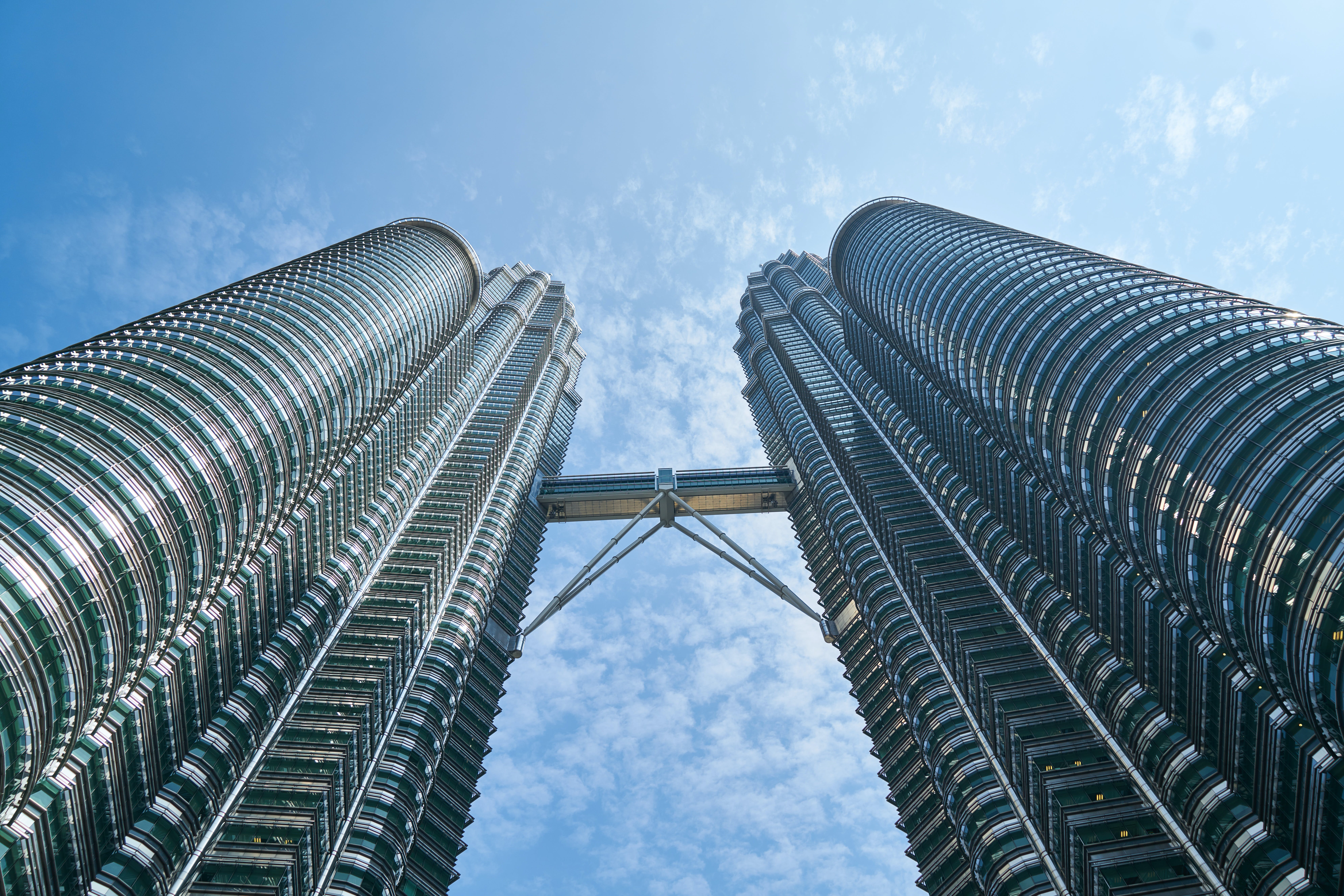 Low Angle Photography of Twin Tower