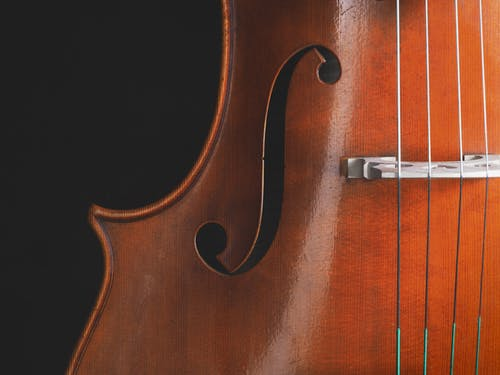 Brown Violin With Silver Cross Pendant