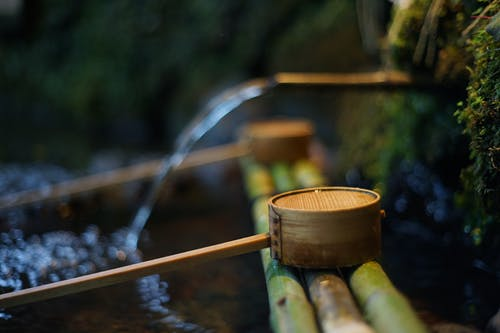 Natural spring with clean water near bamboo pipes and wooden dippers in summer park