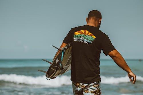 Man in Black Crew Neck T-shirt Standing Near Body of Water
