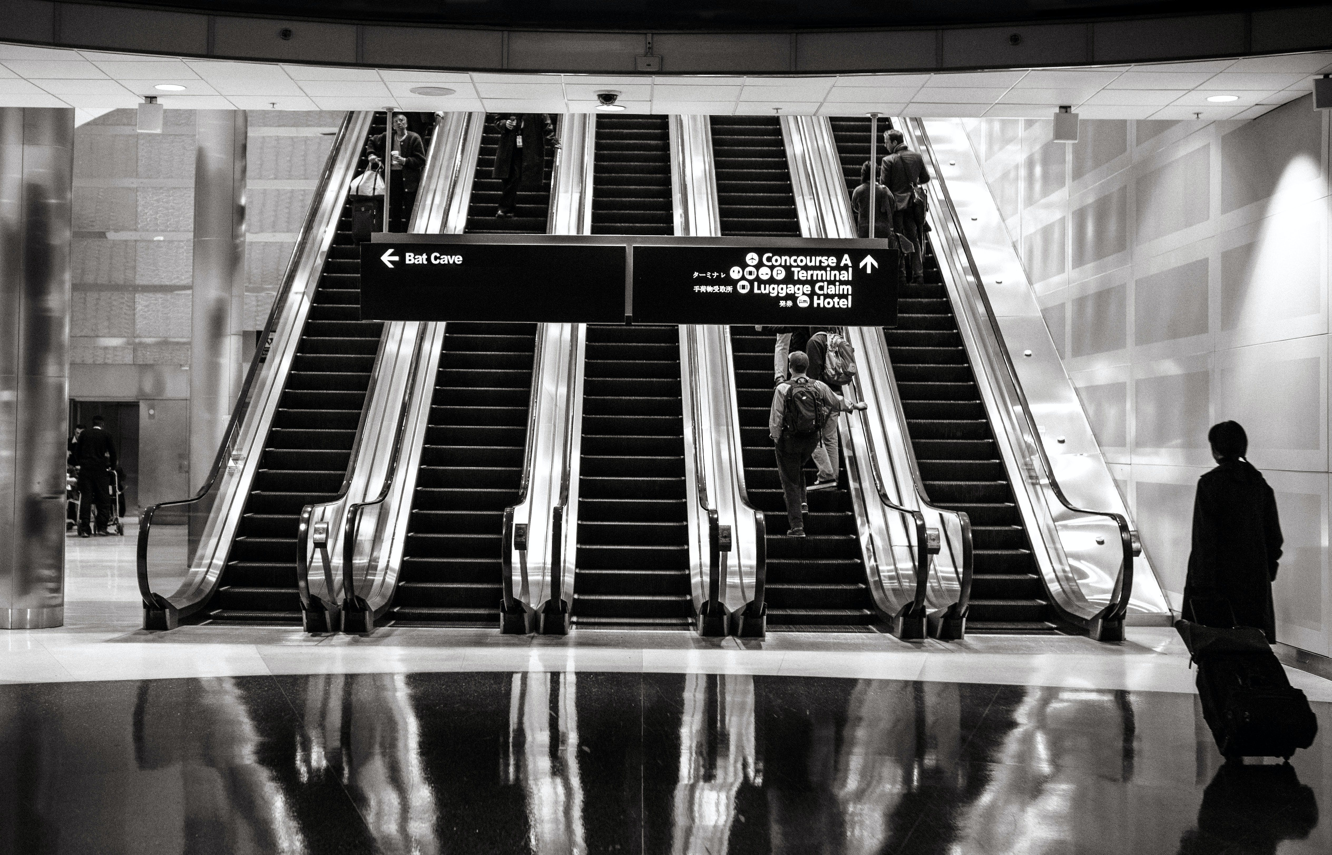 Free stock photo of stairs, people, airport, escalators