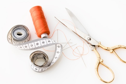 Free stock photo of scissors, thread, sharp, needle