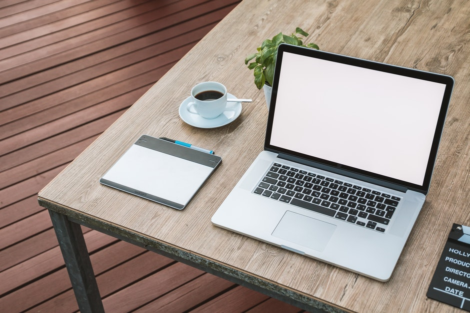 coffee, computer, desk